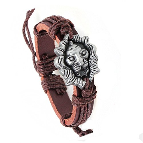 Desklets Boys / Girls Fashionable Vintage Braided Leather Rope Elegant Alloy Charm New Bracelets(Lion) - Wizard Of Oz Diy Costumes