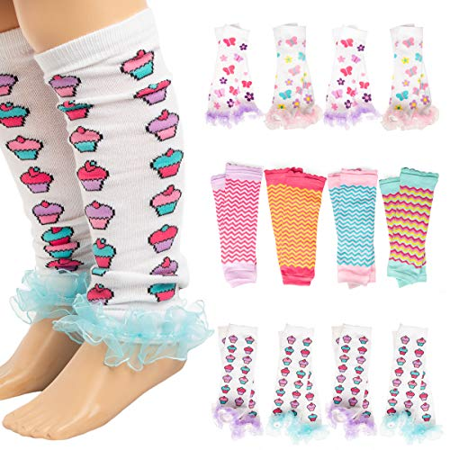 Princess Expressions (4 Pack) Baby-Toddler Girls Leg Warmers Patterned Dance Ruffles