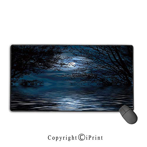 Mouse pad with Lock,Night Sky,Witchcraft Spell Ceremony Atmosphere Forest Full Moon Branches Image Decorative,Light Blue and Black,Ideal for Desk Cover, Computer Keyboard, PC and Laptop,15.8