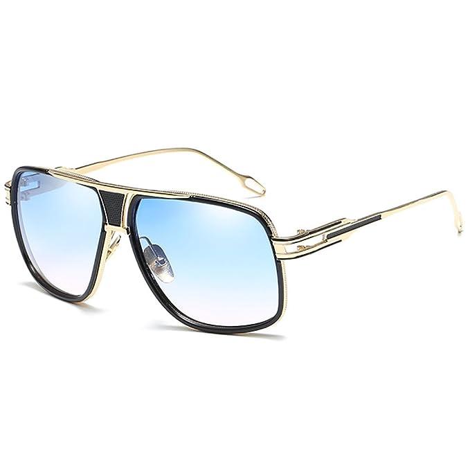 SHEEN KELLY Gafas de Sol de Moda estilo Pilot Marca Retro Vintage Baratas para Mujer y Hombre Marco de metal Cuadrado Lujosa Espejo