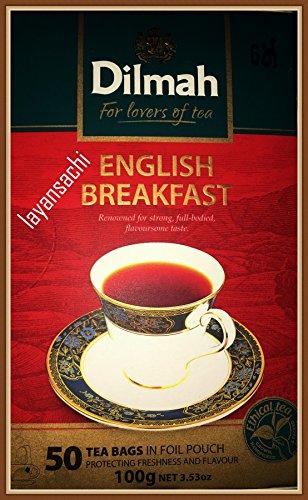 Dilmah 100% Pure Ceylon Tea, English Breakfast Tea, Foil Wrapped Tea Bags, 50 Count, 100g by Dilmah