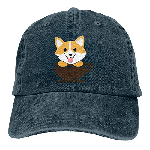 Corgi Dog Coffee Paw Teacups Unisex Denim Dad Hats Adjustable Baseball Cap Navy