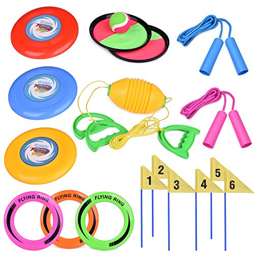 5 Outdoor Games Set Kids Outdoor Toys with 6 Flying Discs, Zip Ball, Toss and Catch Game, Ring Toss Game and 2 Jump Ropes