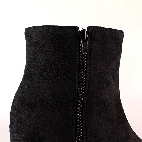 Black Closed High Round Womens 5 AmoonyFashion US M Rhinestones Toe B 8 Solid Heels and Wedge Synthetic Boots with pEqwwOnx