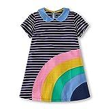 Gorboig Girls Summer Cotton Short Sleeve Stripe Dress for Toddler(Black/3-4Y)