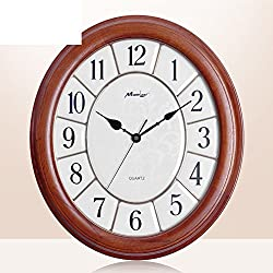 YYL Chinese Silent Wall Clocks, Creative Living Room Clock,Modern Oval Solid Wood Clock-A 20inch