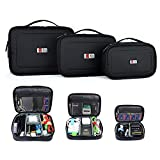 BUBM Waterproof Universal Electronics Travel Organizer Small Carrying Make up Case Customerize padded for Camera Phone Ipad Charger Cable and Accessories Men and Women [3 Set Single Layer-Black]