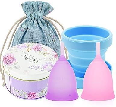 SPEQUIX 2 vasos menstruales (pequeños y grandes) y 1 juego de ...