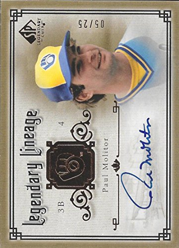 Autograph Paul Molitor (2005 Upper Deck SP Legendary Cuts Legendary Lineage Autograph #PM Paul Molitor NM-MT Auto 5/25 Brewers)