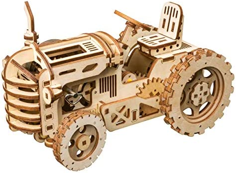 RoWood 3D Wooden Puzzle Brain Teaser Craft Toy Gift for Her & Him Spring Drive Mechanical Gear DIY Model Building Kits - Tractor