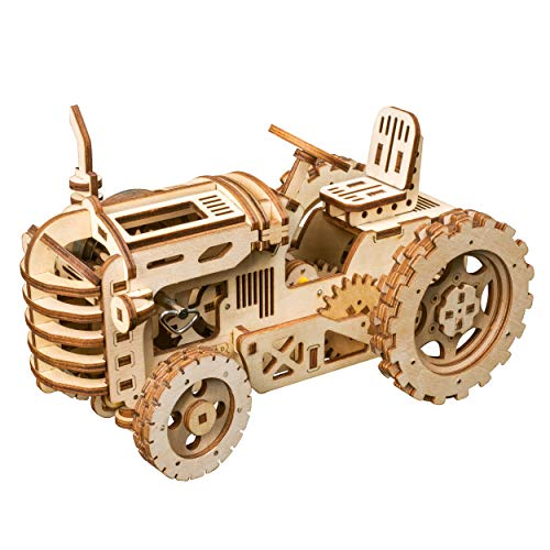 RoWood 3D Wooden Puzzle Brain Teaser Craft Toy, Gift for Her & Him, Spring Drive Mechanical Gear DIY Model Building Kits - Tractor