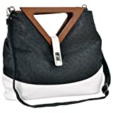 Exotic Black / White Ostrich-embossed Turn-lock Top Double Wood Triangle Handles Large Hobo Tote Satchel Handbag Purse Shoulder Bag, Bags Central