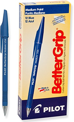 Pilot BetterGrip Cushion Grip Ball Point Pens, Medium Point, Blue Ink, Dozen Box (30051)