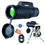 NICPAY Monocular Telescopes, 12X50 High Powered Prism Scope with Quick phone Mount Adapter and Tripod,Waterproof Fogproof Optics FMC BAK4 Prisms, Low Night Vision Focus for Outdoor Like Bird Watching