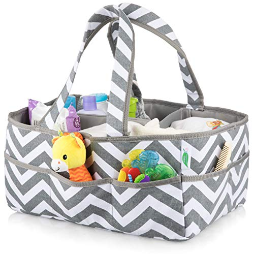 Large Washable Baby Diaper Caddy Organizer Bag – 100% Cotton – Footprints Global