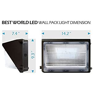 BWL 60W Led Wall Pack Light with Photo Sensor/Cell 5000K Daylight, 6600Lumen, Lifetime 50000H, Ip65 Waterproof Security Area Lighting, 5 Years Warranty