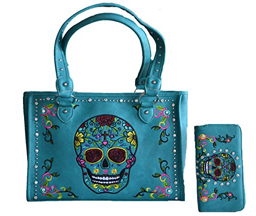 - sugar skull day of the dead embroidery gun concealed carry handbag purse set (blue)