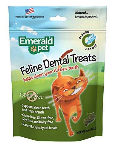 Emerald Pet Dental Crunchy Natural Grain Free Cat Treats, Made in USA