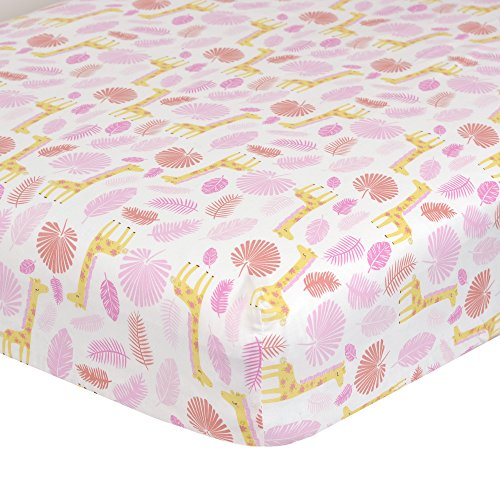 Jungle Themed Bedding - Just Born Jungle Crib Sheet, Pink