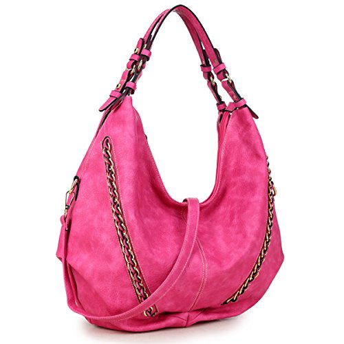 0287bd0e015a Women Large Hobo Tote Bag Leather Shoulder Bag Ladies Handbags Zipper  Pockets Hot Pink - Buy Online in Oman.