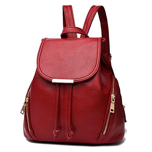 (JVP1028-B) Mujeres Luc PU cuero negro anillo impermeable 3way bolso trasero bolso de hombro simples grandes capacidades viaje atrás Moda popular lindo ligero viajero de la escuela Roja