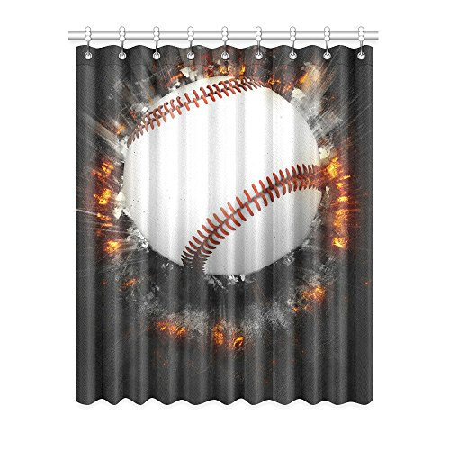 InterestPrint Blackout Window Curtains Baseball Sport Room Bedroom Kitchen Home Living Solid Grommet Window Drapes Curtains 52x63 inch