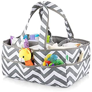 Large Washable Baby Diaper Caddy Organizer 100% Cotton Bag by Footprints Global