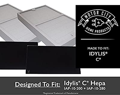 2-Pack Idylis C Hepa Air Purifier Filter PLUS 2-Pack Carbon comparable filters for IAP-10-200, IAP-10-280;Motor City Home Products Quality Replacement