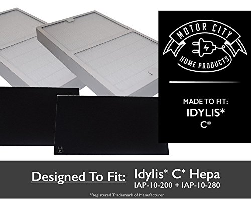 2-Pack PREMIUM Idylis C Hepa Air Purifier Filter PLUS 2-Pack Carbon comparable filters for IAP-10-200, IAP-10-280;Motor City Home Products Quality Replacement