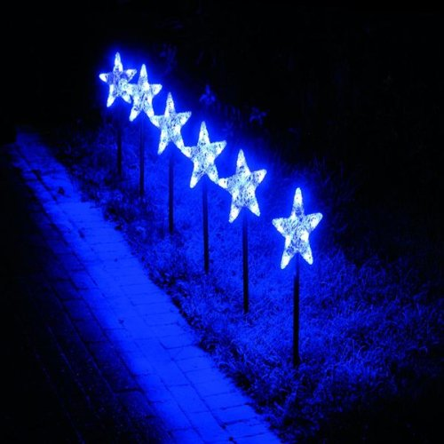 Blue LED Star Snowflake Pathfinder Christmas Lights (6 Pack): Amazon ...