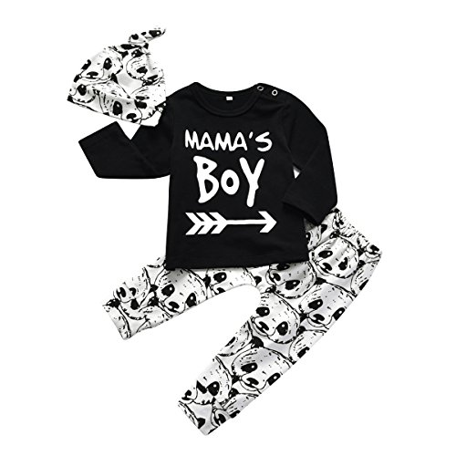 Baby Boy 3Pcs Clothes Set Mama's Boy Long Sleeve T-Shirt Tops Cartoon Panda Pants and Hat (0-6 Months)