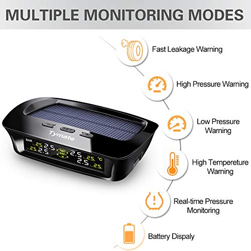 Tymate TPMS Solar Power with HD LCD Screen- Real-time Displays 4 Tires' Pressure, Temperature (-40℃~80℃)- Wireless Tire Pressure Monitoring System with 4pcs External Sensors (0-6.0 BAR)- 6 Alarm Modes by Tymate (Image #3)