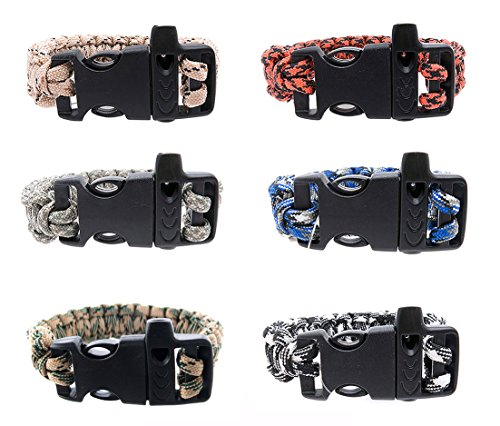 FROG SAC Paracord Bracelets with Emergency Whistle Buckles 6 PCs Pack - Survival Buckle Bracelet Set for Camping, Hiking Accessories - Great Party Favors (Camo) (Camo Paracord Bracelet)