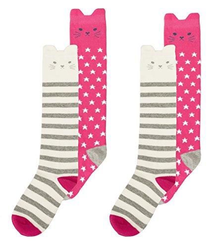 Maiwa Knee High Cotton Cat Socks for Girls Kids 4 Pack (Little GIRL Shoes 12-2 / 8YEARS-10YEARS)]()