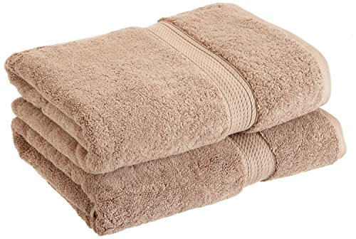 "Superior 900 GSM Luxury Bathroom Towels, Made of 100% Premium Long-Staple Combed Cotton, Set of 2 Hotel & Spa Quality Bath Towels - Latte, 30"" x 55"" each"