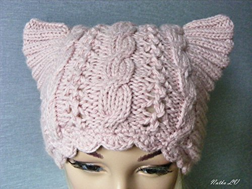 Light pink cat hat, knit cat hat, pussy hat, women's cat hat, cat ear hat, hand knitted, cable beanie, animal hat, adult cat hat, women's march hat