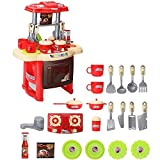 Kids Children Babies Kitchen Cooking Toy Play Set with Light and Sound Educational Learning Toy Red