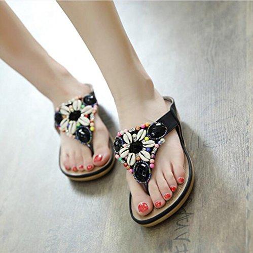 Temporada Cool Pellizcar Playa De Zapatillas Cuentas Chancletas Zapatos Beauty Con Verano Tamaño Nvxie Grande Plano Masaje Mujeres Negro Leader PwnTIqxnOX
