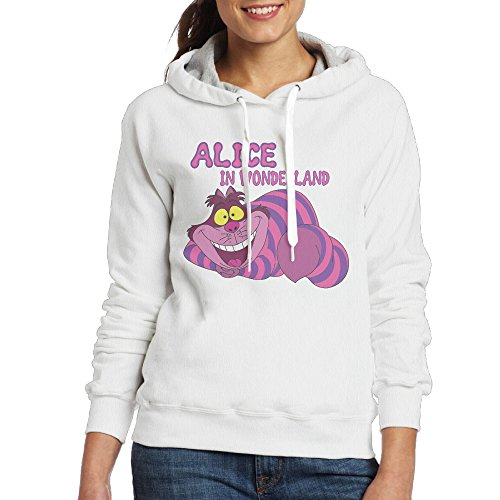 [UFBDJF20 Alice In Wonderland Fleece Sweatshirt For Women L White] (Edward Scissorhands Womens Halloween Costume)