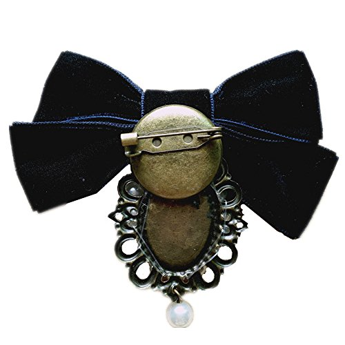 80HOU Women Cameo Pearl Brooch Velvet Bow Coat Jacket Sweater Lapel Collar Pin-Black by 80HOU (Image #4)