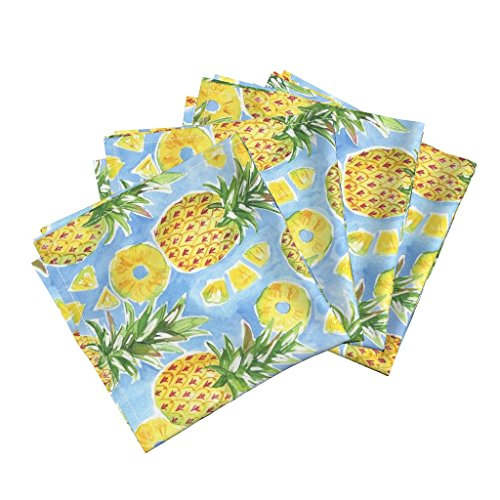 Roostery Tropical Fruit Hawaii Summer Watercolor Pineapple July2016pineapples Linen Cotton Dinner Napkins Pineapple Summer by Jillbyers Set of 4 Dinner Napkins by Roostery