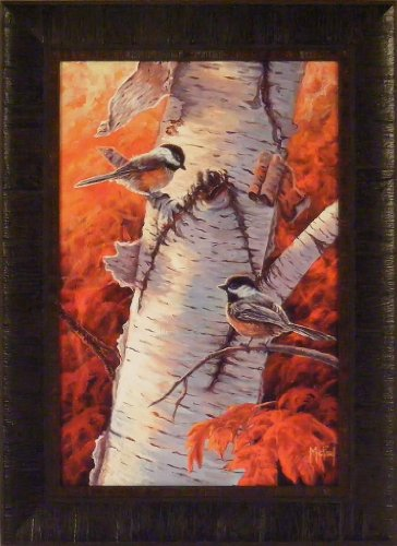 Autumn Visitors II by John McFaul 17x23 Chickadees Song Birds Birch Tree Framed Art Print Picture