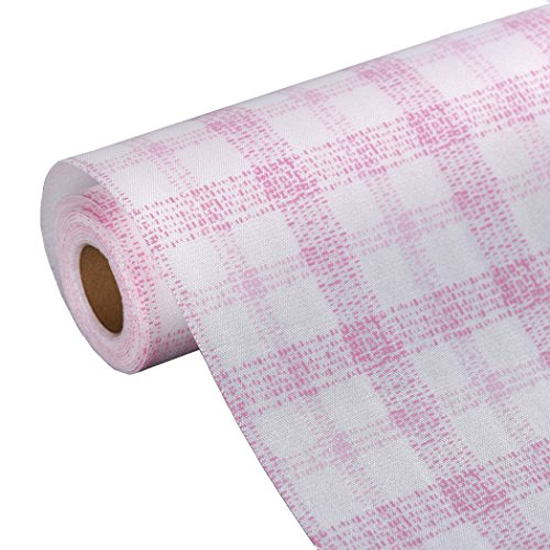 - Plaid Gingham Pattern Non-adhesive Shelf Liner Paper Roll for Kitchen Bathroom Cabinets Drawer Shelves Refrigerator Closets (Pink)