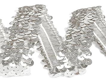 Paillettenband Stoffe-Online-Shop Stretch-Pailletten breite 30mm pink Verkaufseinheit: 1m Paillettenborte elastisch