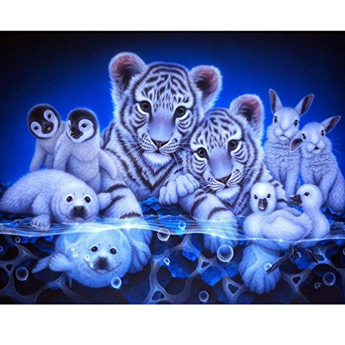 Transer 5D Diamond Embroidery Painting, DIY Crystal Rhinestone Cross Stitch Pasted Painting Kit Arts Craft for Home Wall Decor, Part Drill, Tigers, Penguins, Seals, Rabbits, Ducks - Penguin Part