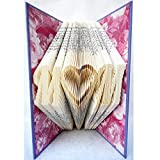 Hand Folded Book Art Sculpture, M Heart M, Unique Birthday Christmas Mother's Day Gift for Mom