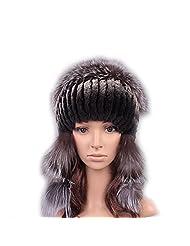 UK.GREIFF Women's Fashion Warm Stretch Rabbit Fur Bomber Hat Winter Cap