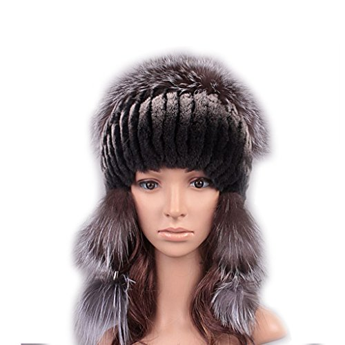 UK.GREIFF Women's Fashion Warm Stretch Rabbit Fur Bomber Hat Winter Cap Color4