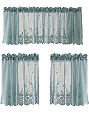 2Krmstr White Kitchen Curtains Valance and Tiers Set, 3 Piece Floral Lace Design Sheer Curtain Sets, Rod Pocket Cafe Curtain for Small Window Treatment