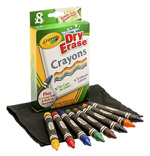 - Crayola Washable Dry-Erase Crayons, 8 Classic Crayola Colors with Built In Sharpener & E-Z Erase Cloth Non-Toxic Art Tools for Kids & Toddlers 3 & Up, Easily Wipes Off Any Dry Erase Surface